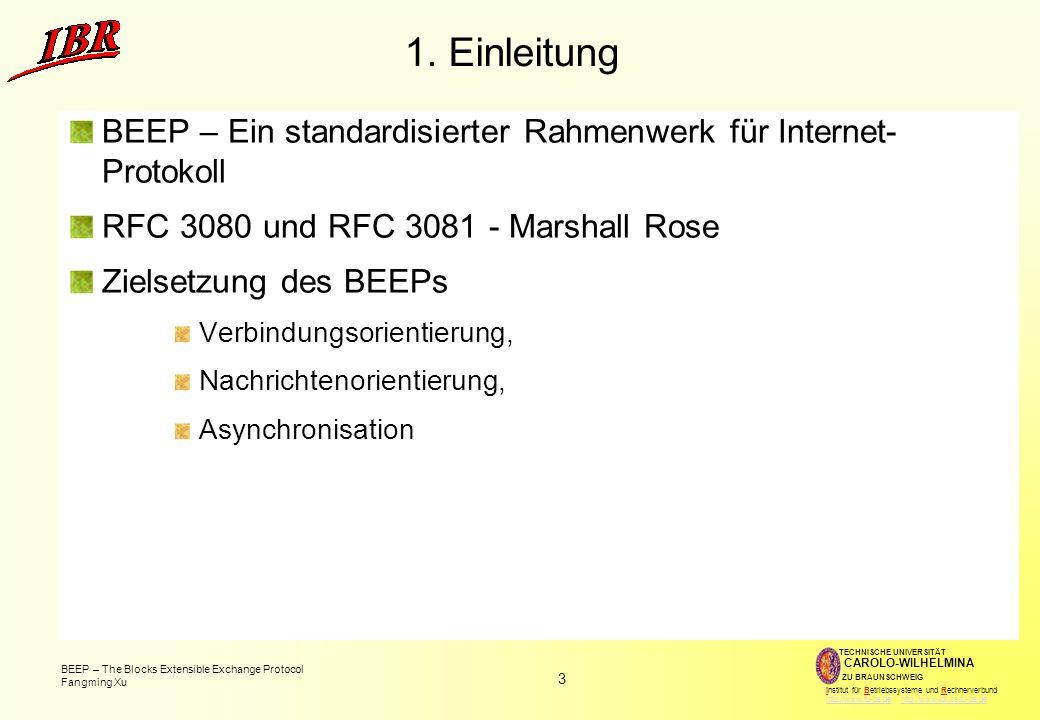 1. Einleitung BEEP – Ein standardisierter Rahmenwerk für Internet- Protokoll. RFC 3080 und RFC 3081 - Marshall Rose.