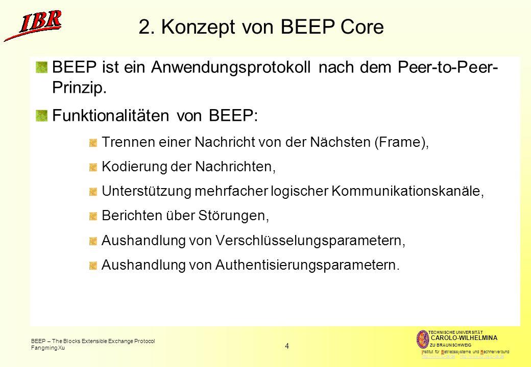 2. Konzept von BEEP Core BEEP ist ein Anwendungsprotokoll nach dem Peer-to-Peer- Prinzip. Funktionalitäten von BEEP: