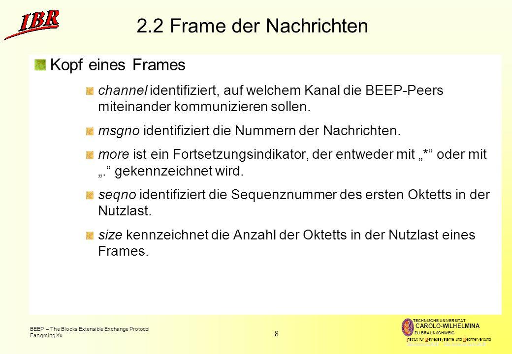 2.2 Frame der Nachrichten Kopf eines Frames
