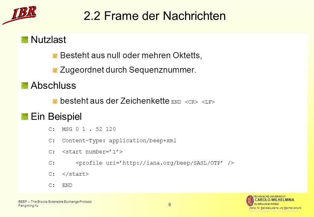 2.2 Frame der Nachrichten Nutzlast Abschluss Ein Beispiel