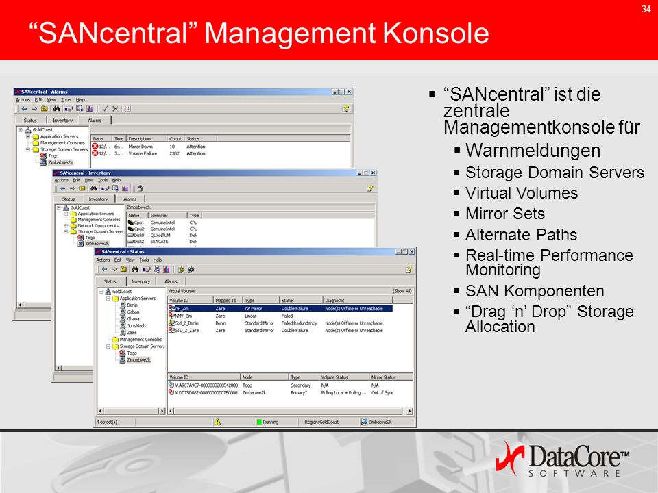 SANcentral Management Konsole