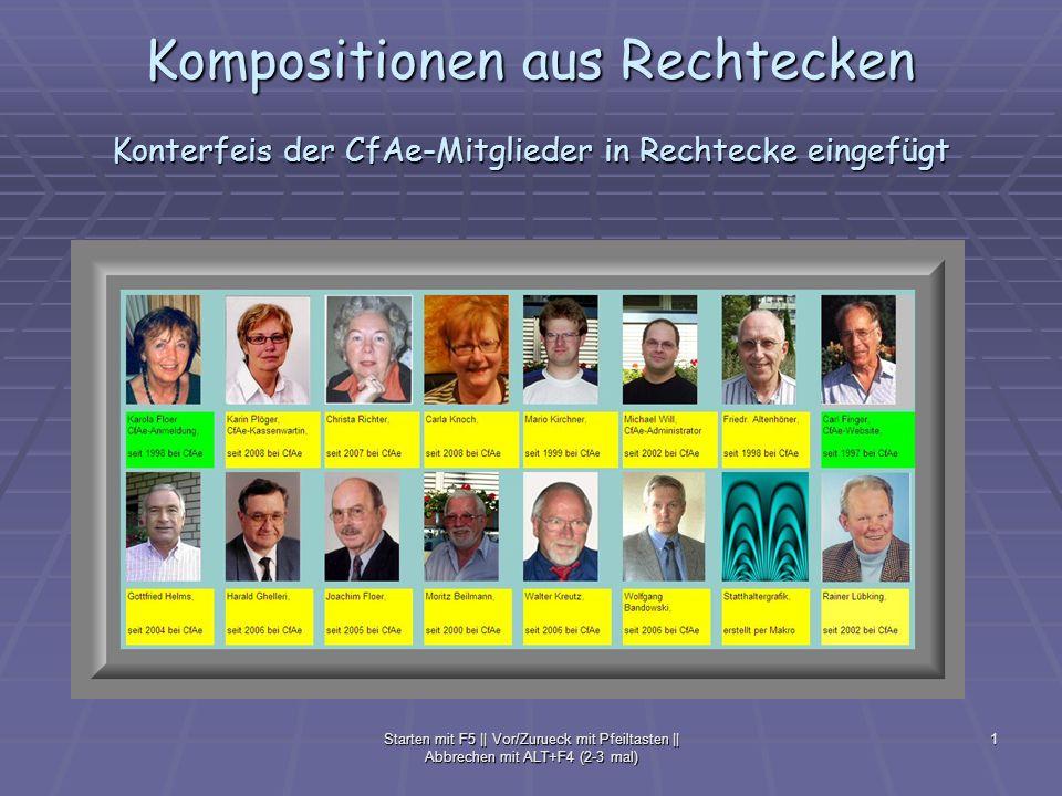 Kompositionen aus Rechtecken Konterfeis der CfAe-Mitglieder in Rechtecke eingefügt