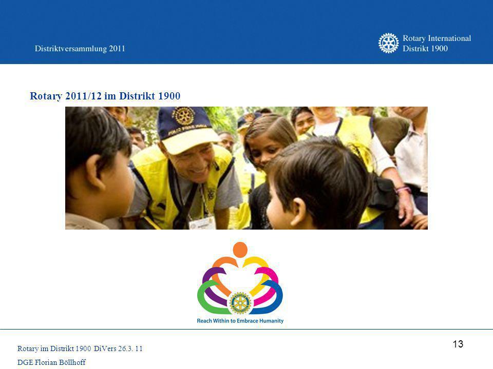 Rotary 2011/12 im Distrikt 1900 Rotary im Distrikt 1900 DiVers 26.3. 11 DGE Florian Böllhoff
