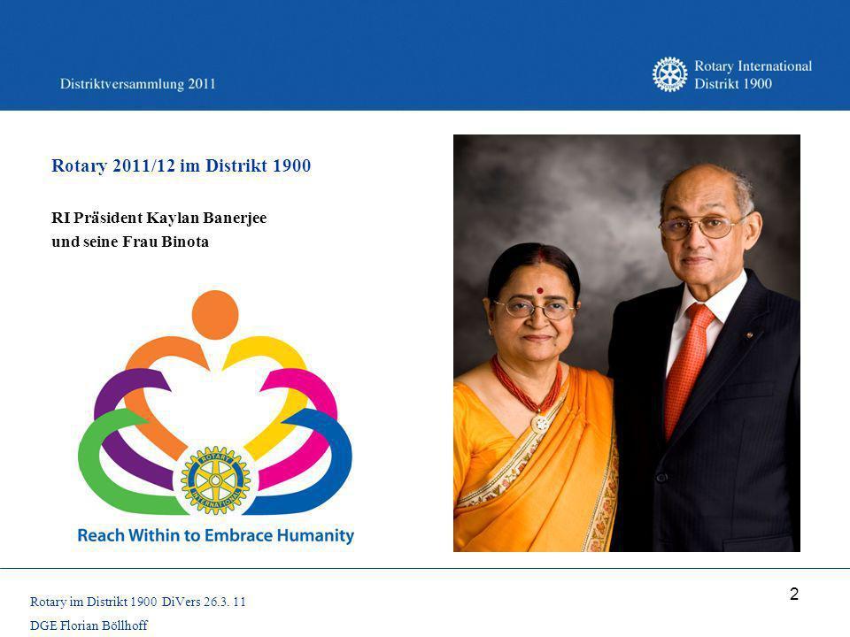 Rotary 2011/12 im Distrikt 1900 RI Präsident Kaylan Banerjee