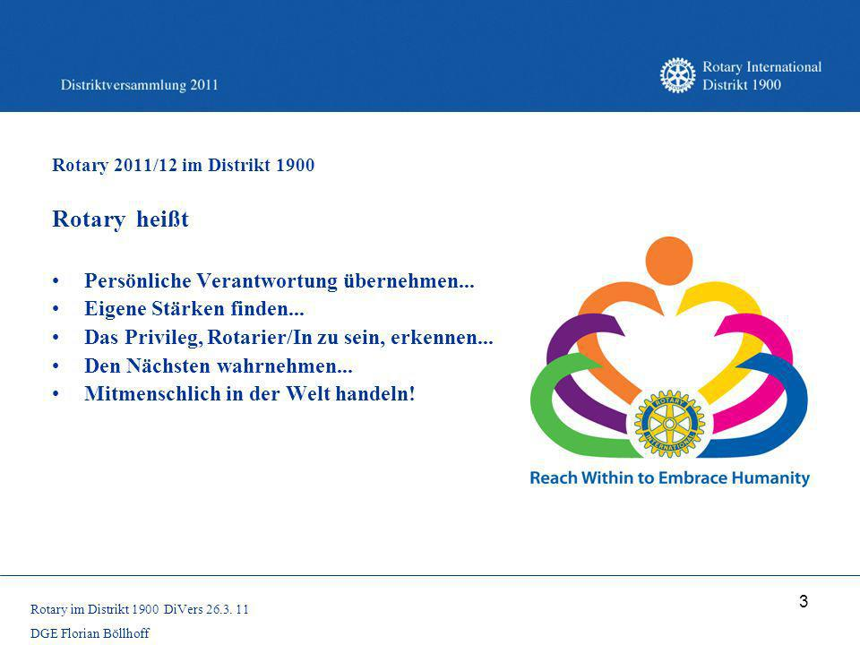 Rotary heißt Persönliche Verantwortung übernehmen...
