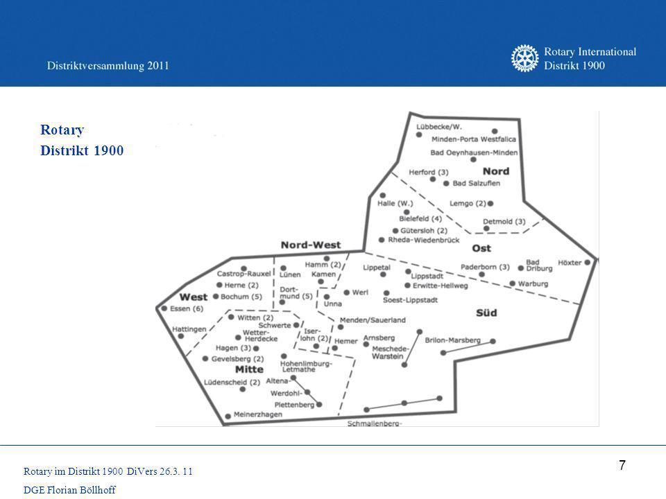 Rotary Distrikt 1900 Rotary im Distrikt 1900 DiVers 26.3. 11