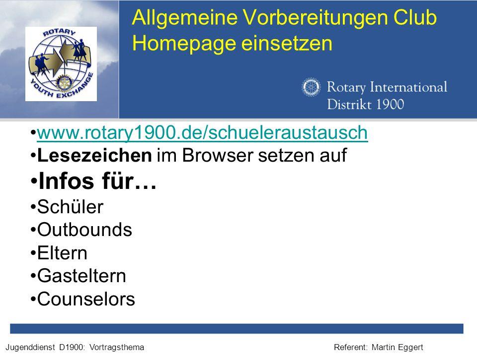 Allgemeine Vorbereitungen Club Homepage einsetzen