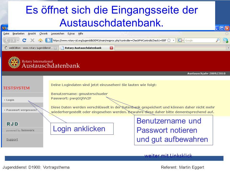 Es öffnet sich die Eingangsseite der Austauschdatenbank.