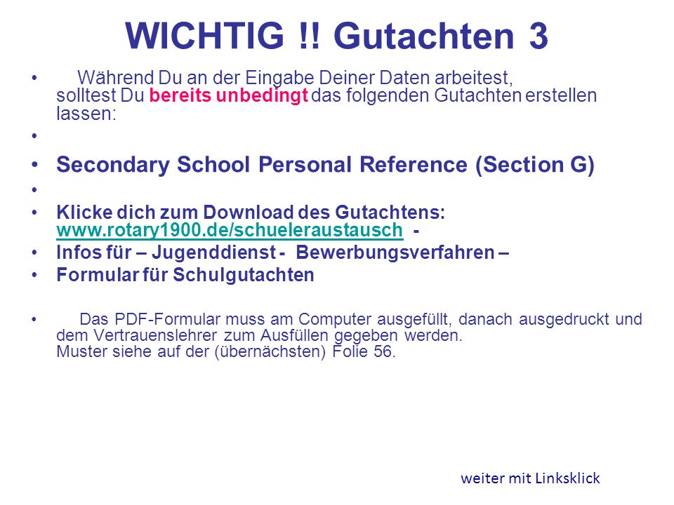 WICHTIG !! Gutachten 3 Secondary School Personal Reference (Section G)