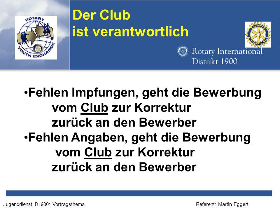 Der Club ist verantwortlich