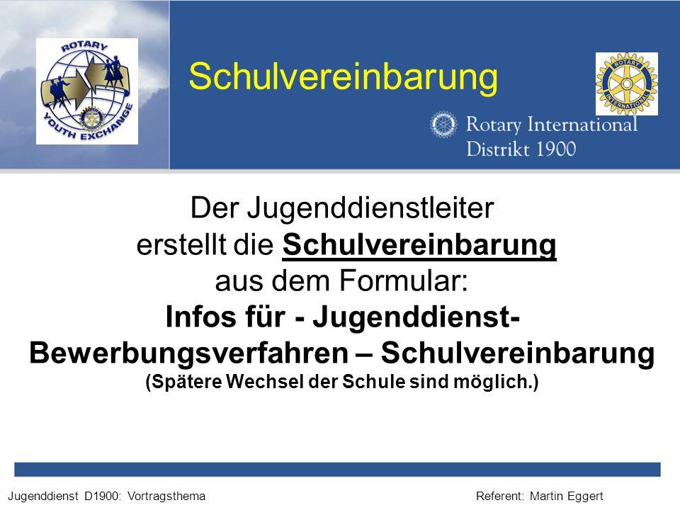 Infos für - Jugenddienst- Bewerbungsverfahren – Schulvereinbarung