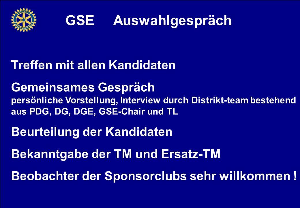 GSE Auswahlgespräch Treffen mit allen Kandidaten