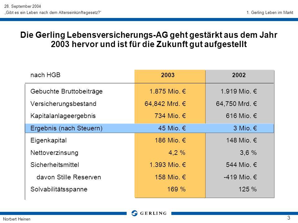 1. Gerling Leben im Markt Die Gerling Lebensversicherungs-AG geht gestärkt aus dem Jahr 2003 hervor und ist für die Zukunft gut aufgestellt.