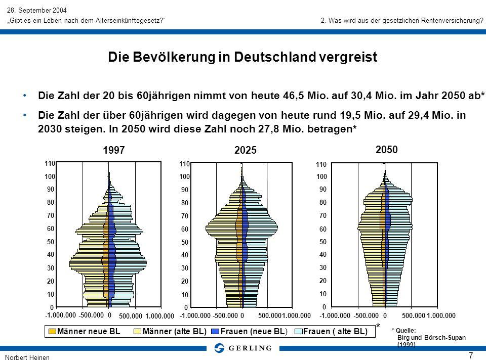 Die Bevölkerung in Deutschland vergreist