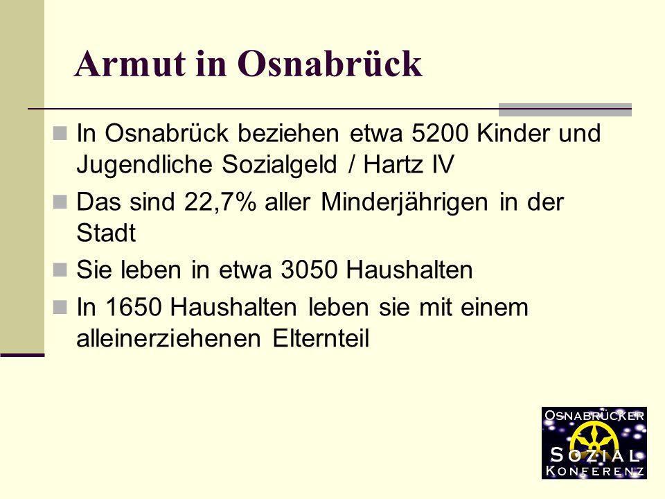 Armut in Osnabrück In Osnabrück beziehen etwa 5200 Kinder und Jugendliche Sozialgeld / Hartz IV. Das sind 22,7% aller Minderjährigen in der Stadt.