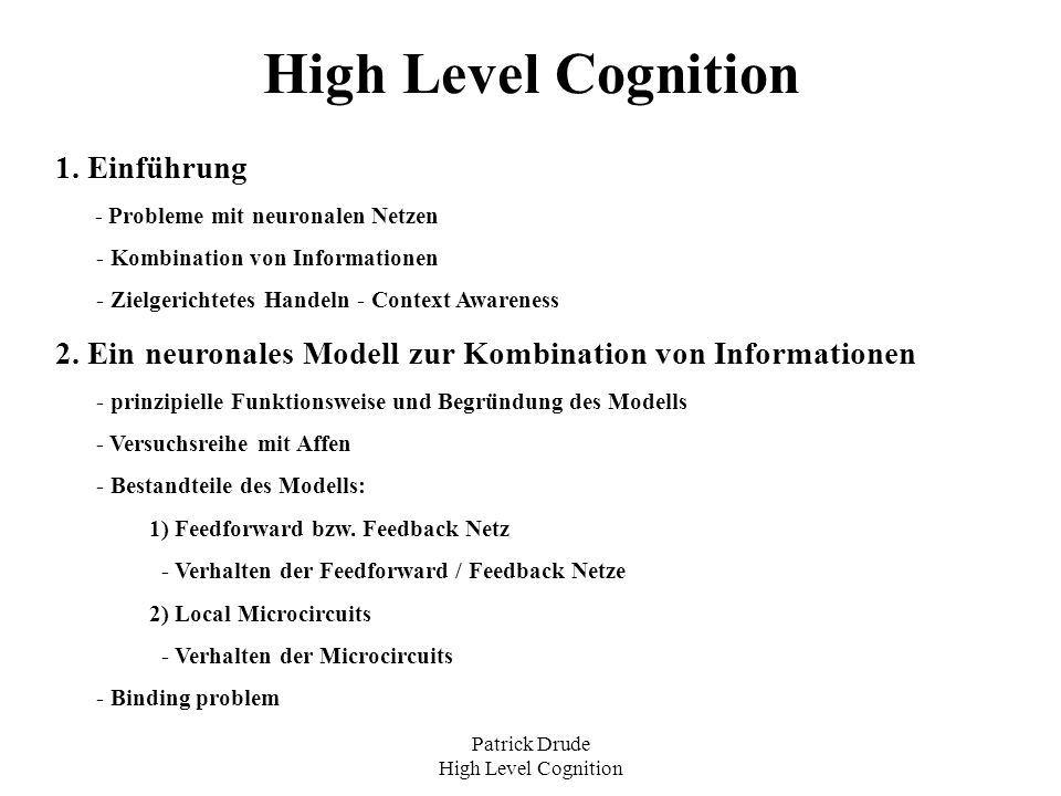 Patrick Drude High Level Cognition