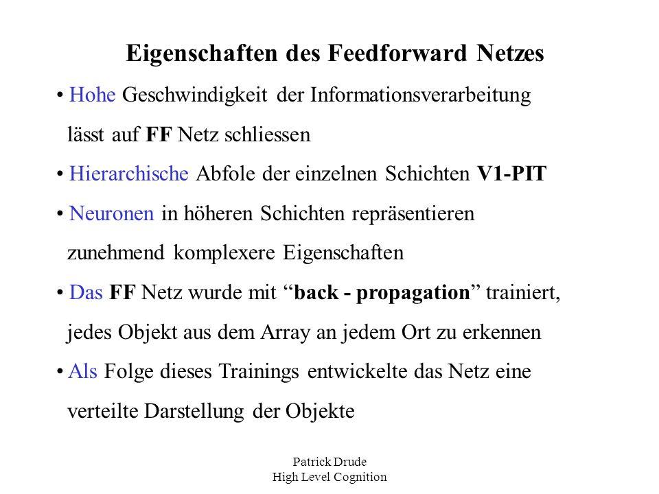 Eigenschaften des Feedforward Netzes