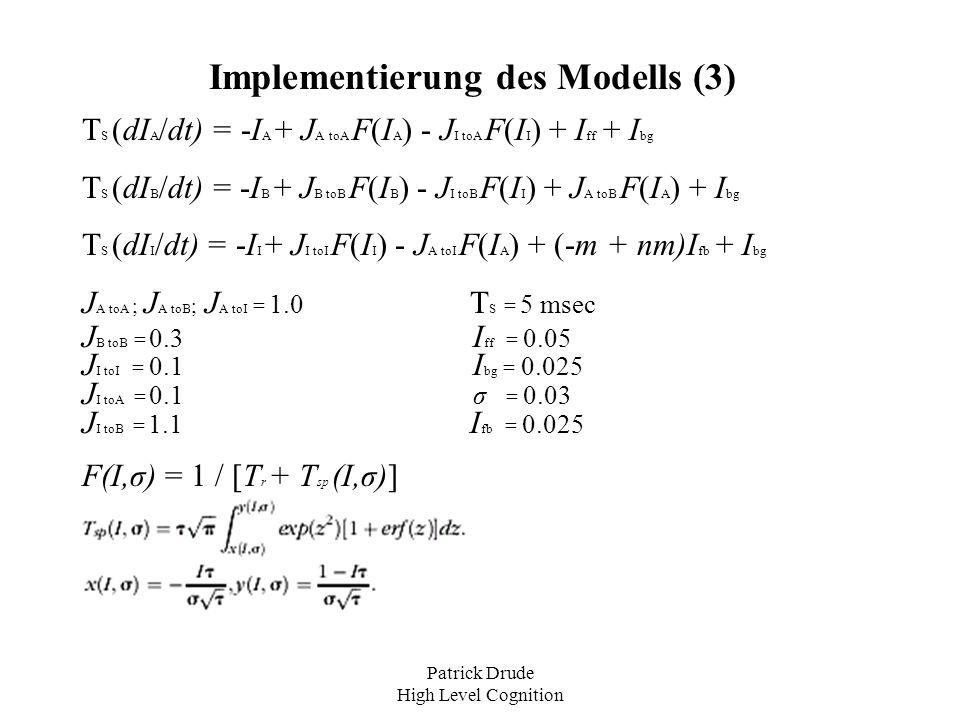 Implementierung des Modells (3)