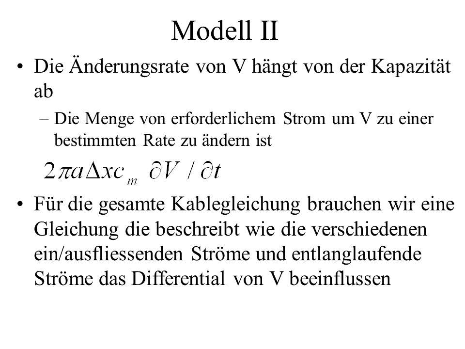 Modell II Die Änderungsrate von V hängt von der Kapazität ab