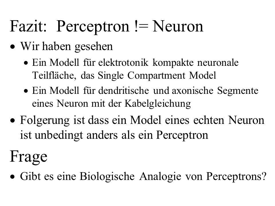Fazit: Perceptron != Neuron