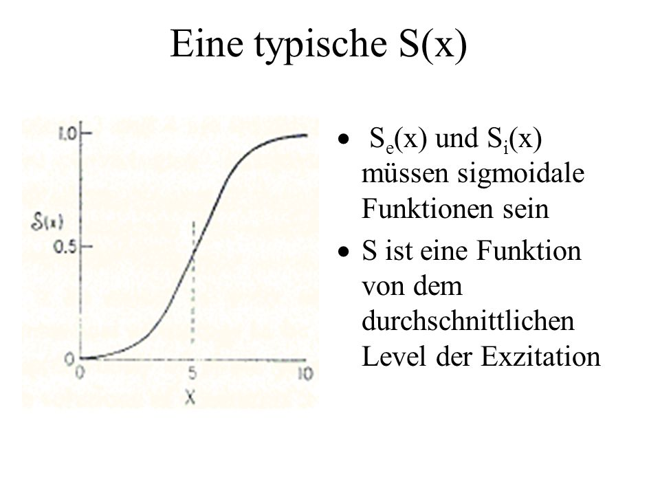 Eine typische S(x) Se(x) und Si(x) müssen sigmoidale Funktionen sein