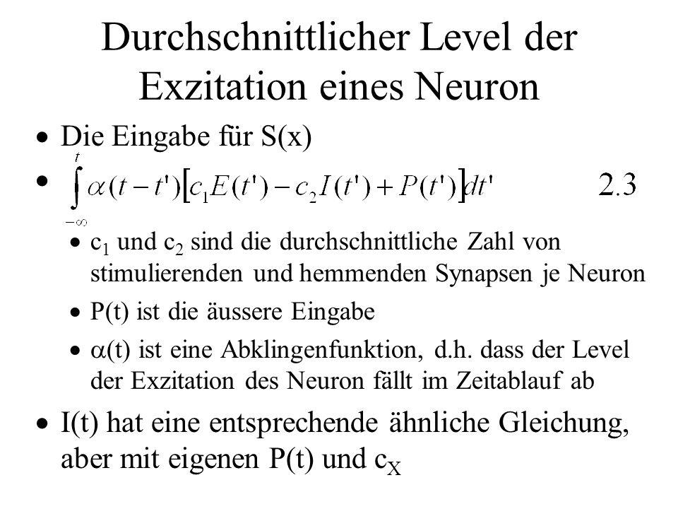 Durchschnittlicher Level der Exzitation eines Neuron