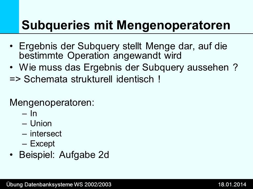Subqueries mit Mengenoperatoren