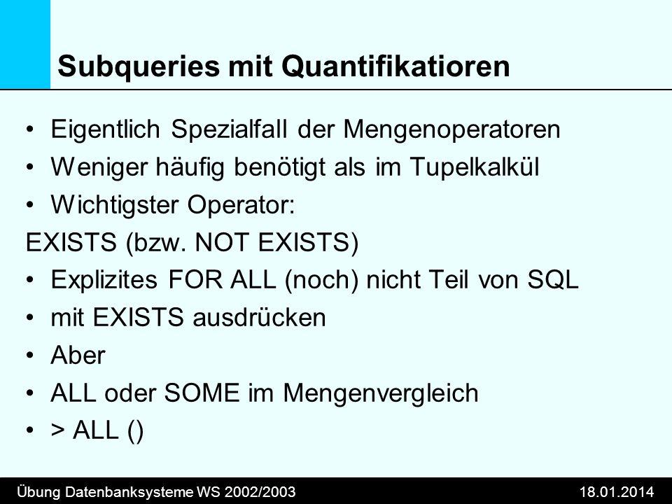 Subqueries mit Quantifikatioren