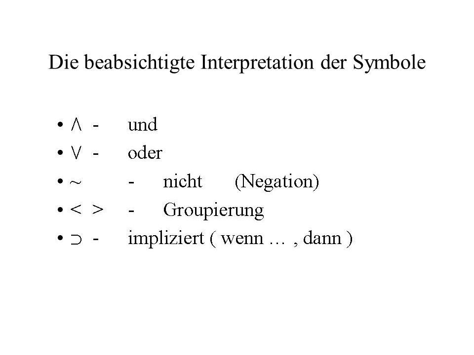 Die beabsichtigte Interpretation der Symbole