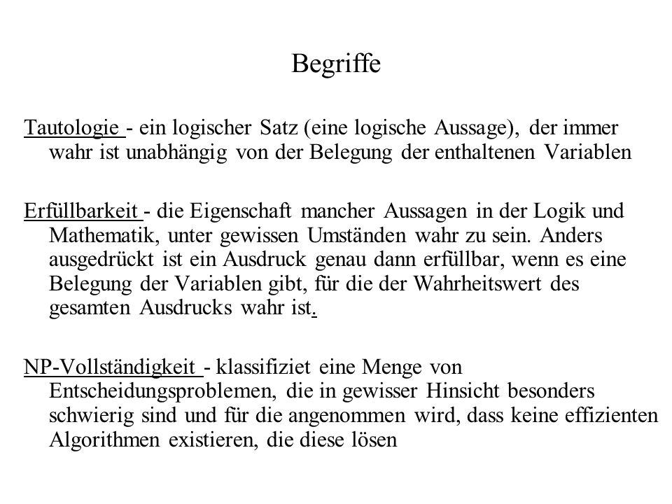 BegriffeTautologie - ein logischer Satz (eine logische Aussage), der immer wahr ist unabhängig von der Belegung der enthaltenen Variablen.