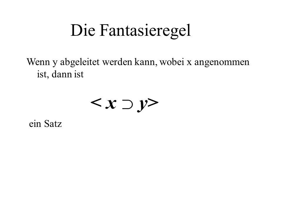 Die Fantasieregel Wenn y abgeleitet werden kann, wobei x angenommen ist, dann ist ein Satz