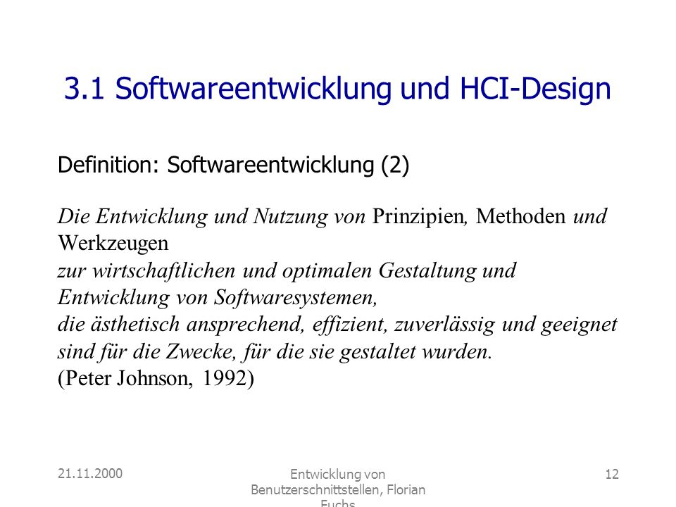 3.1 Softwareentwicklung und HCI-Design