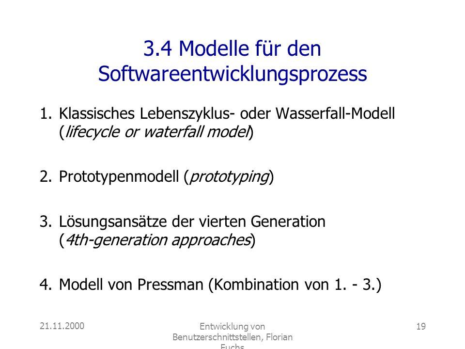 3.4 Modelle für den Softwareentwicklungsprozess