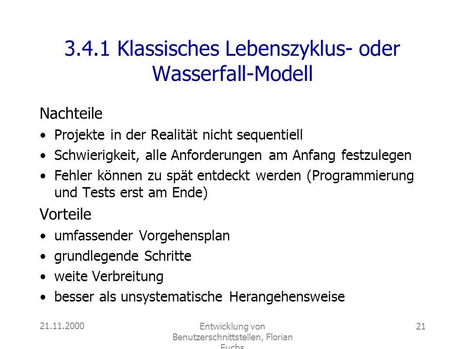 3.4.1 Klassisches Lebenszyklus- oder Wasserfall-Modell