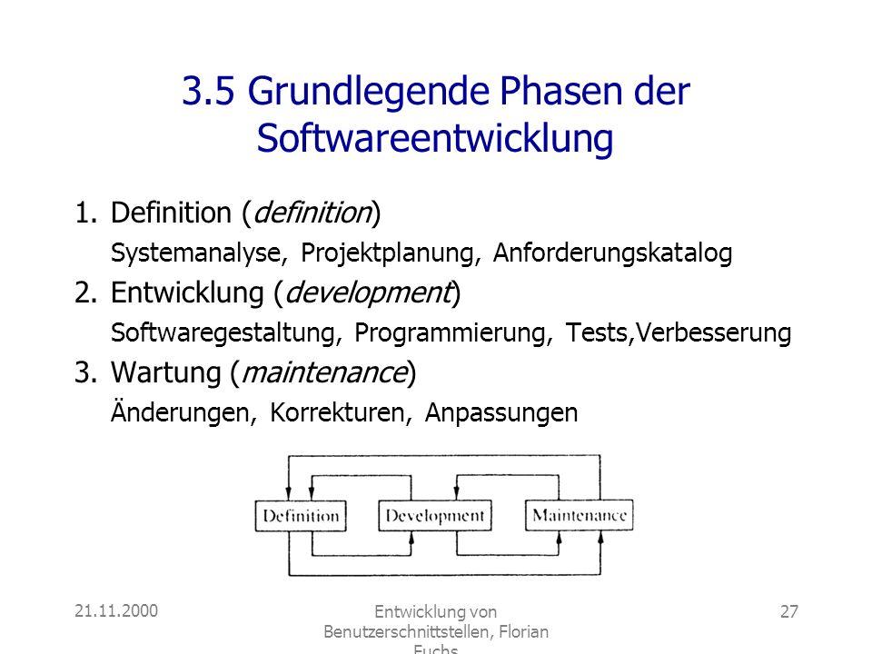 3.5 Grundlegende Phasen der Softwareentwicklung