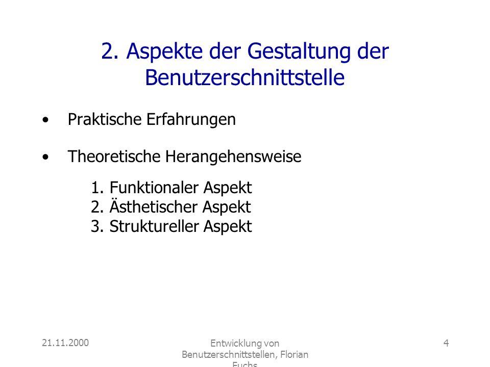 2. Aspekte der Gestaltung der Benutzerschnittstelle