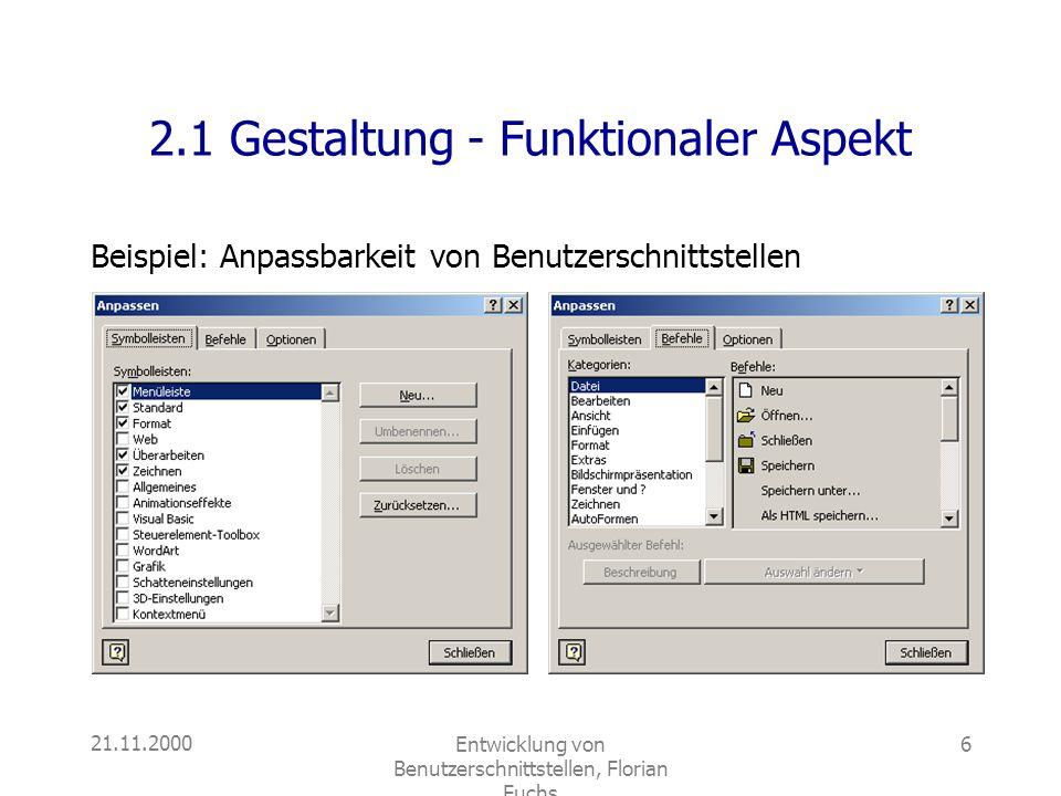 2.1 Gestaltung - Funktionaler Aspekt