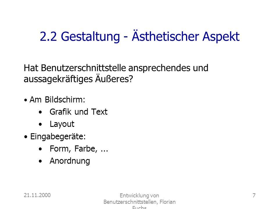 2.2 Gestaltung - Ästhetischer Aspekt