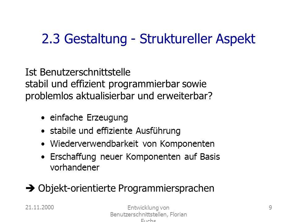 2.3 Gestaltung - Struktureller Aspekt