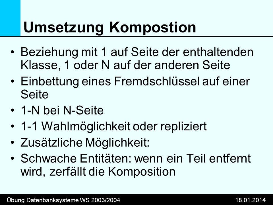 Umsetzung Kompostion Beziehung mit 1 auf Seite der enthaltenden Klasse, 1 oder N auf der anderen Seite.