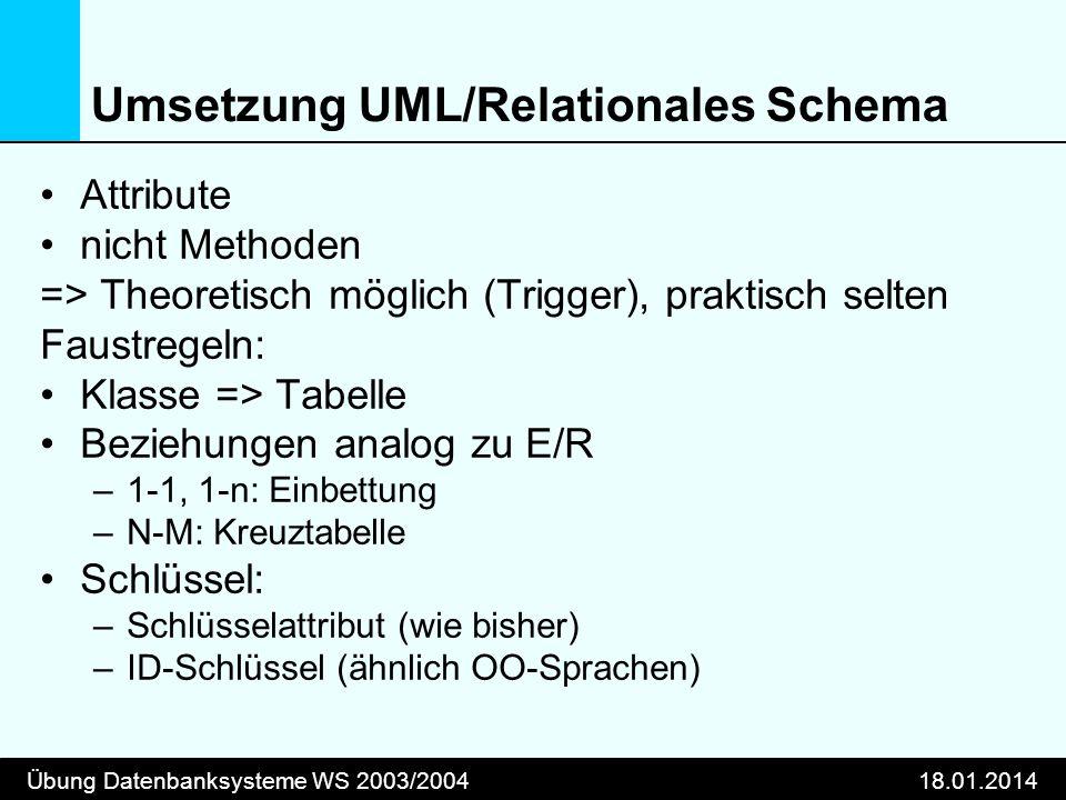 Umsetzung UML/Relationales Schema