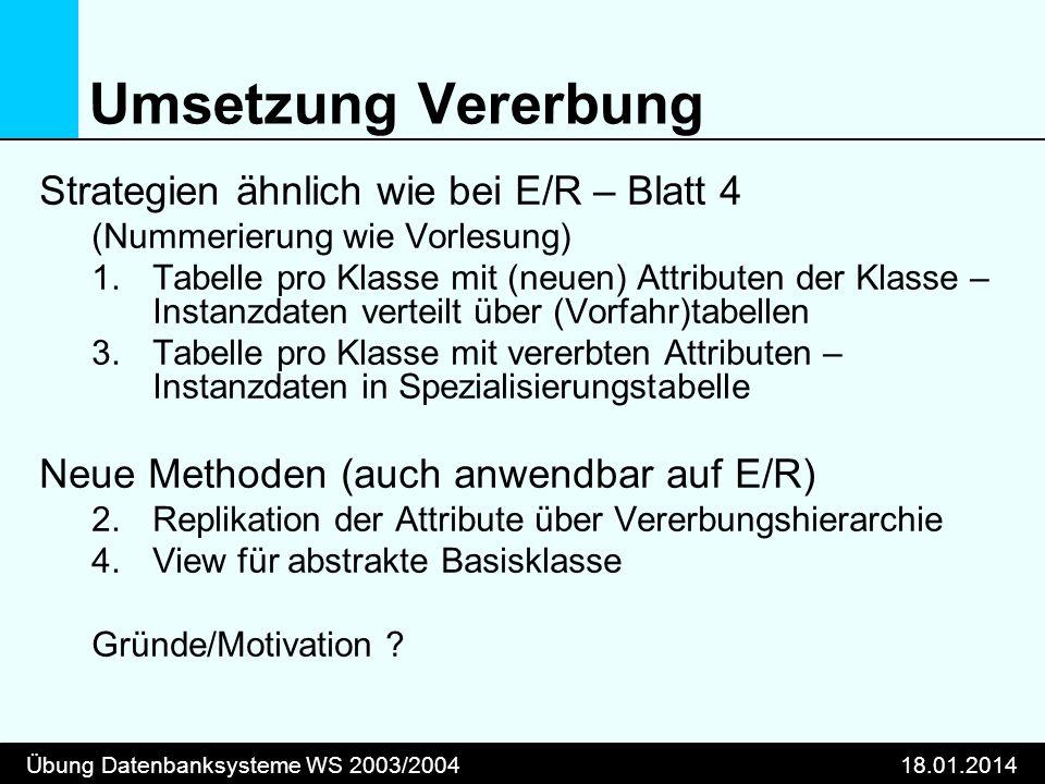 Umsetzung Vererbung Strategien ähnlich wie bei E/R – Blatt 4