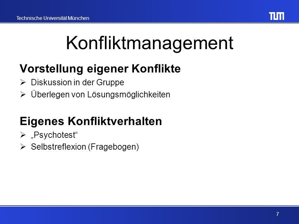 Konfliktmanagement Vorstellung eigener Konflikte