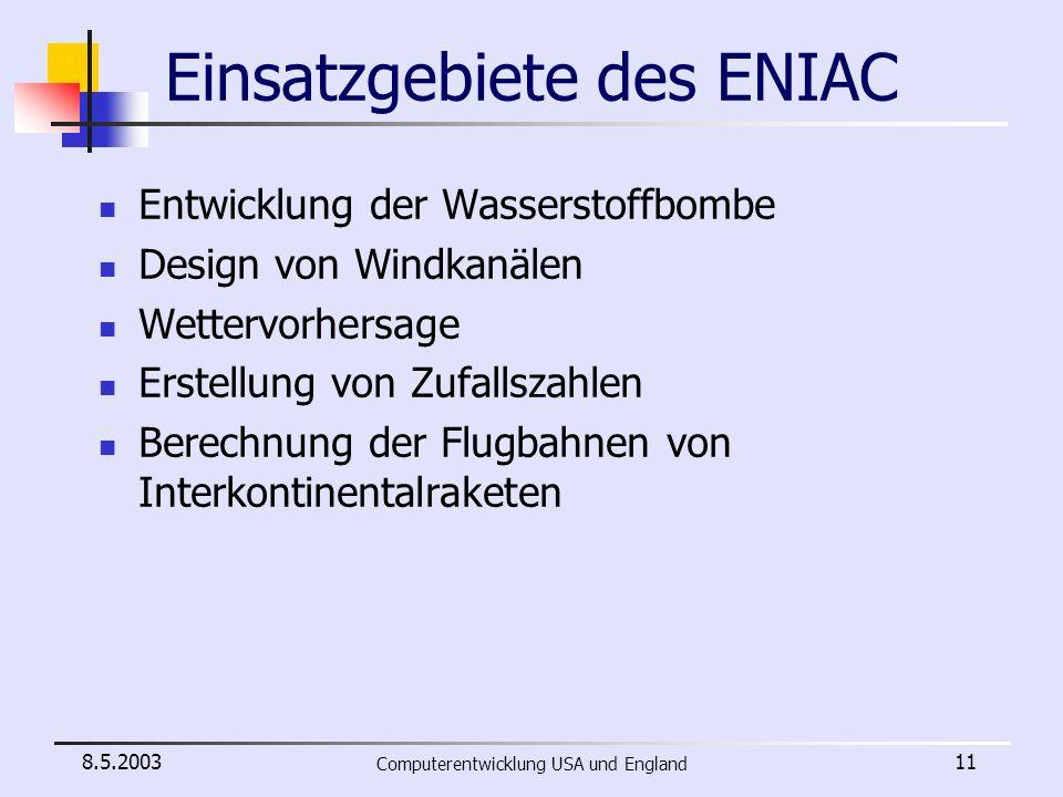 Einsatzgebiete des ENIAC