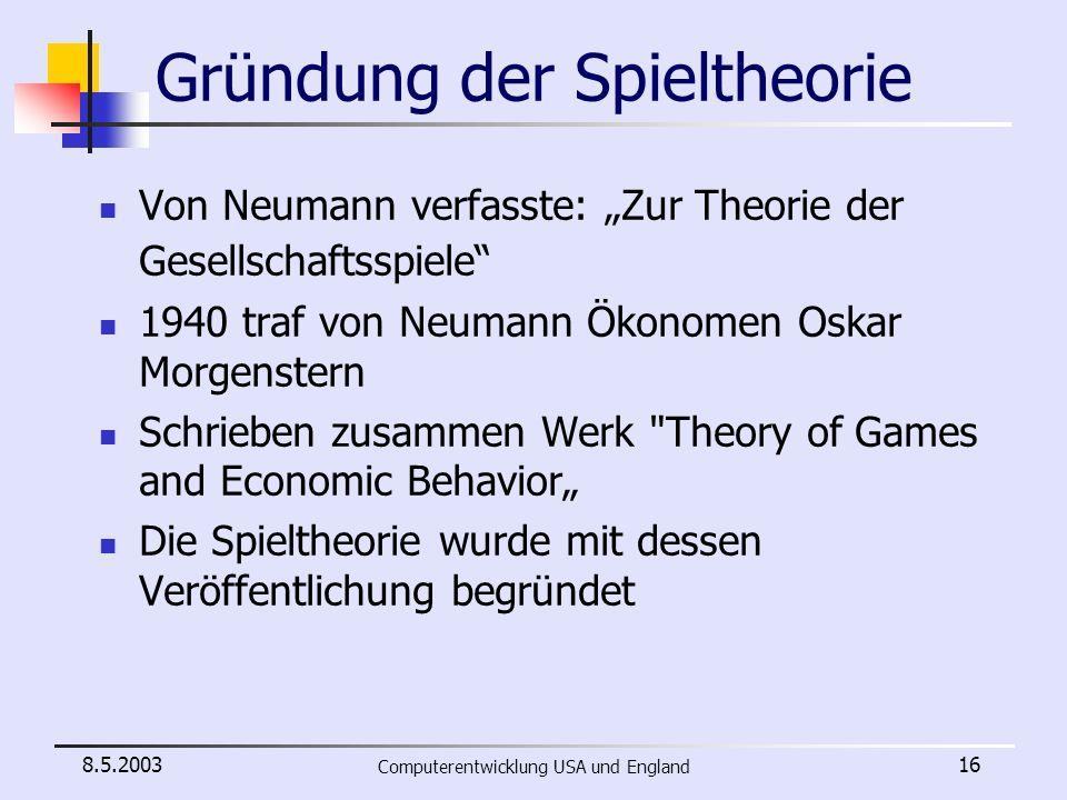 Gründung der Spieltheorie