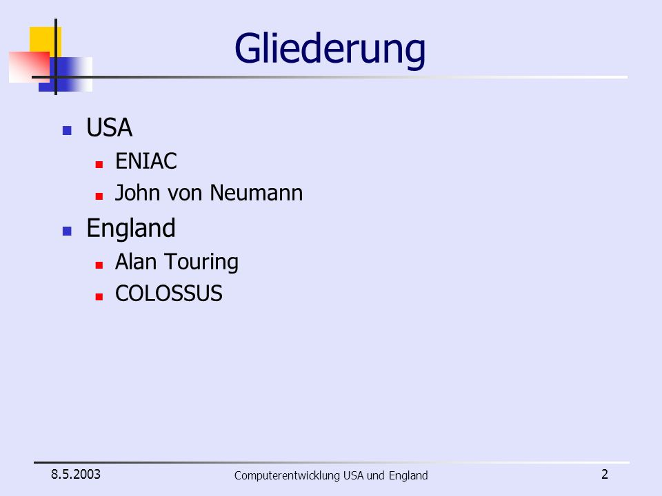 Computerentwicklung USA und England