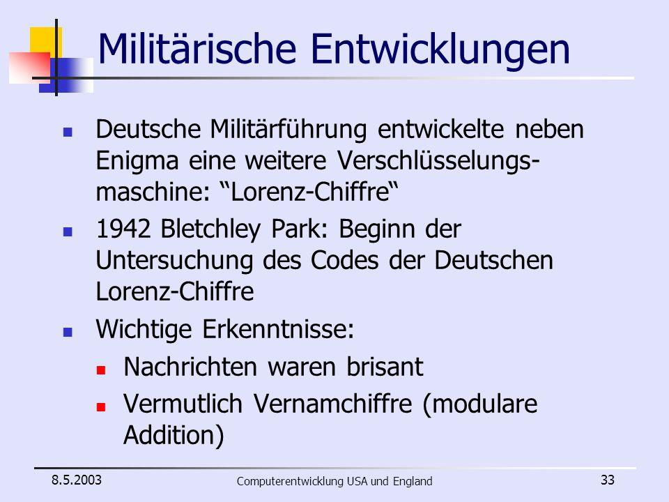 Militärische Entwicklungen