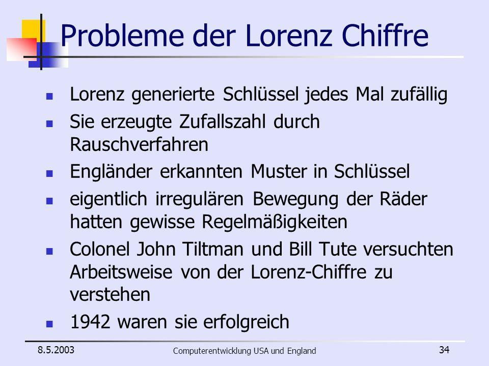 Probleme der Lorenz Chiffre