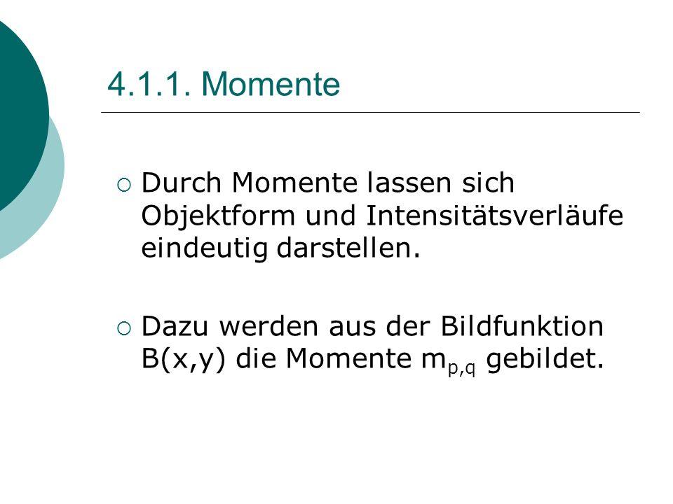 4.1.1. Momente Durch Momente lassen sich Objektform und Intensitätsverläufe eindeutig darstellen.