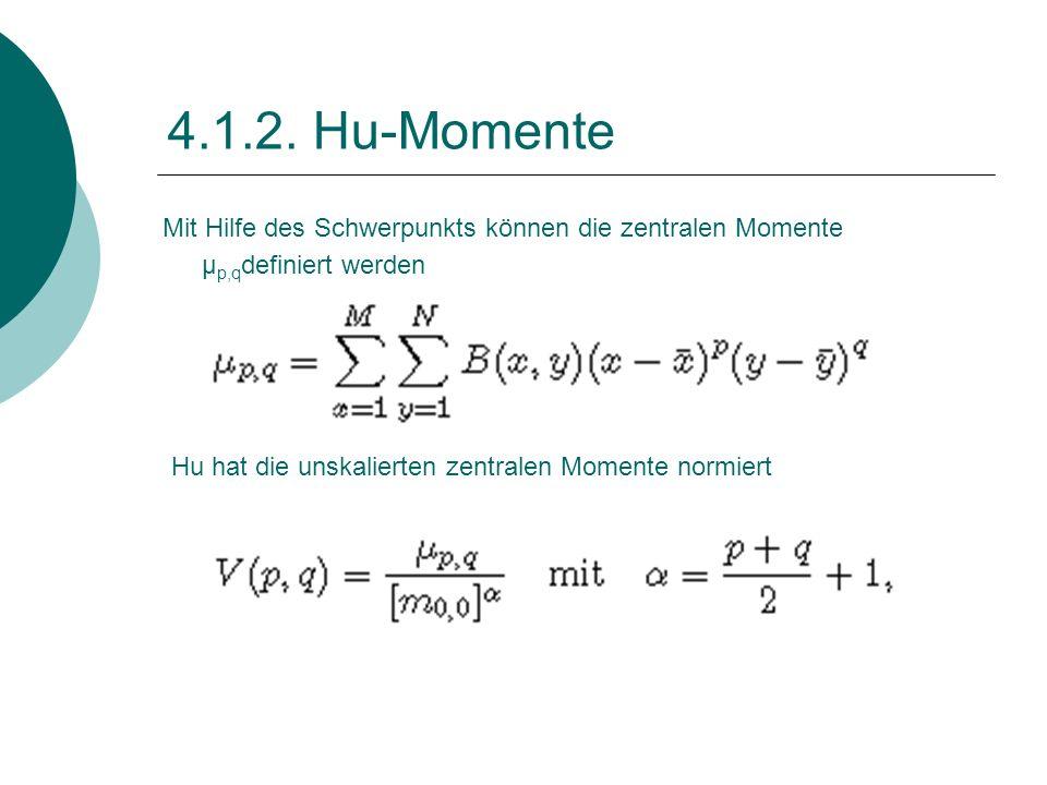 4.1.2. Hu-Momente Mit Hilfe des Schwerpunkts können die zentralen Momente μp,qdefiniert werden.